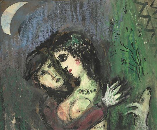 Les amoureux aux clair de lune (1949) - Marc Chagall
