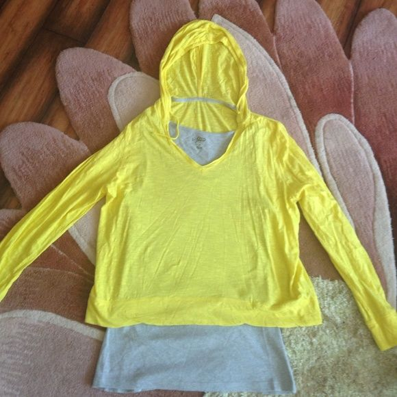 Style&CO sport long sleeve with hood and undershir Super cute yellow long sleeve attached to grey tank. Super comfy and brand new wo tags. Can be bundled for offers Style & Co Tops
