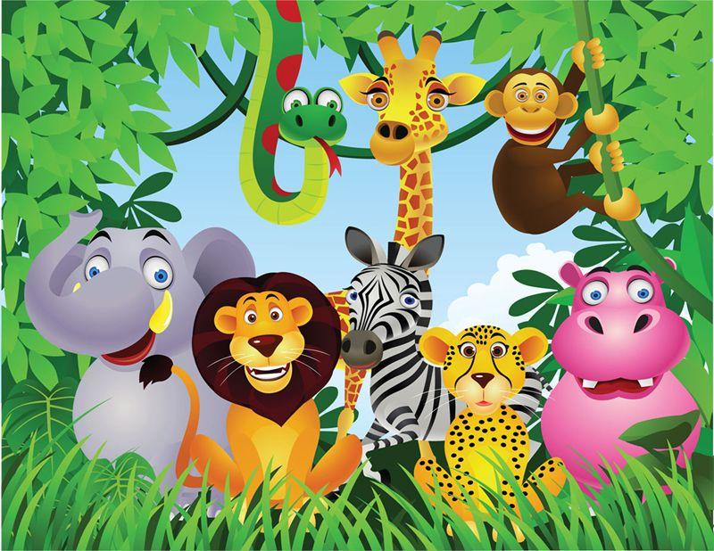 Jungel Fun Wallpaper Wall Mural Jungle Animals Wall
