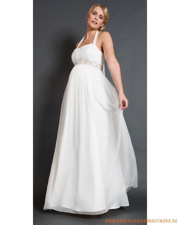 Brautkleid für Schwangeren aus Chiffon mit Nachhalter Verzierter ...