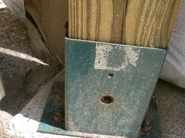How to attach a wooden railing to a concrete porch for Concrete patio railing