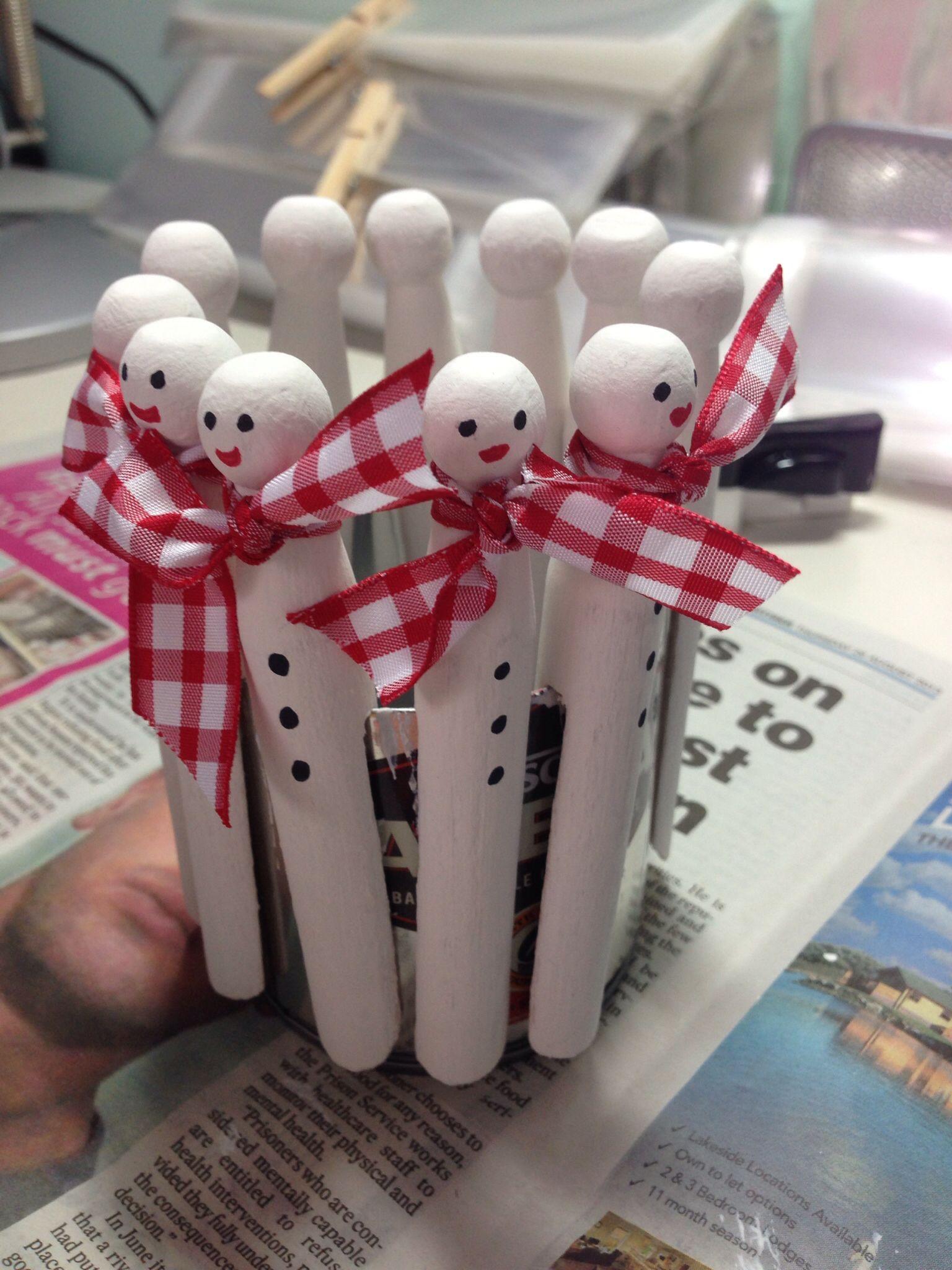 Dolly Peg Snowmen Christmas Winter Ideas Christmas Crafts Xmas