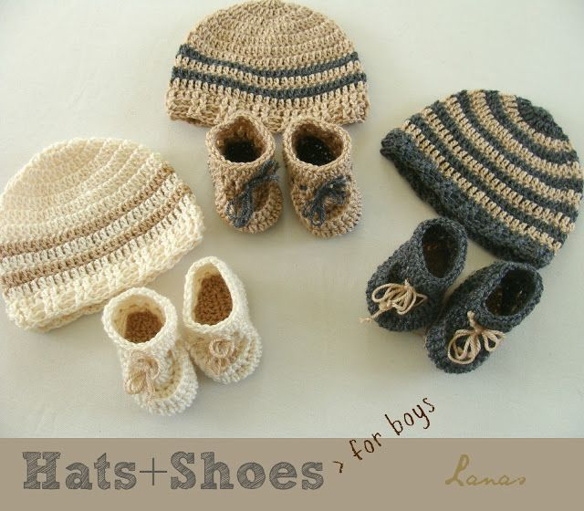 Baby boys crocheted hats & shoes