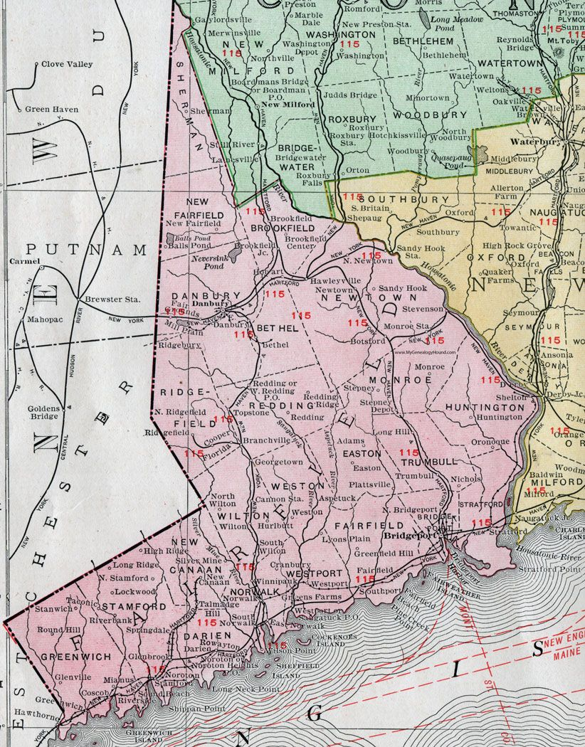 fairfield county connecticut  map by rand mcnally bridgeportdanbury. fairfield county connecticut  map by rand mcnally