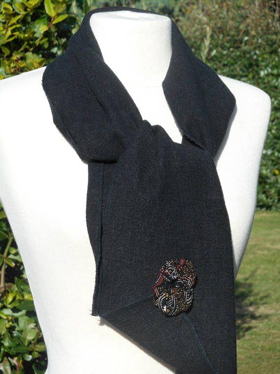 4dc27c8d9a00 Snood écharpe foulard femme lin coton noir   ECHARPE   Pinterest