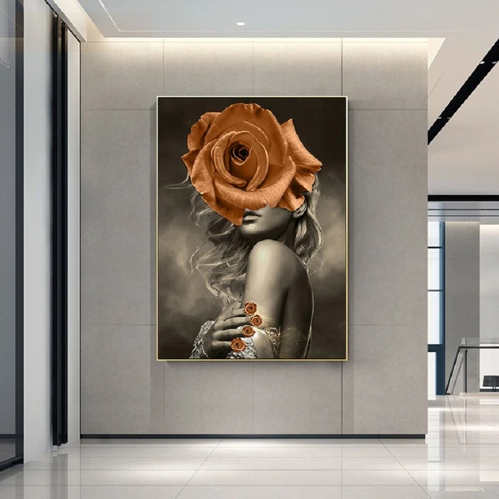 Nordic Creative Minimalist Beauty and Flowers Canvas