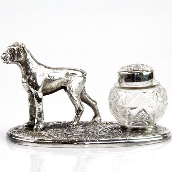 Novelty English Silver Plated & Cut Glass Boxer Dog Inkwell Inkstand #England