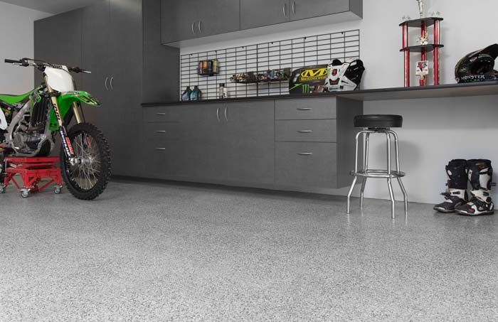 Silverado Floor With Pewter Cabinets And Dirt Bike