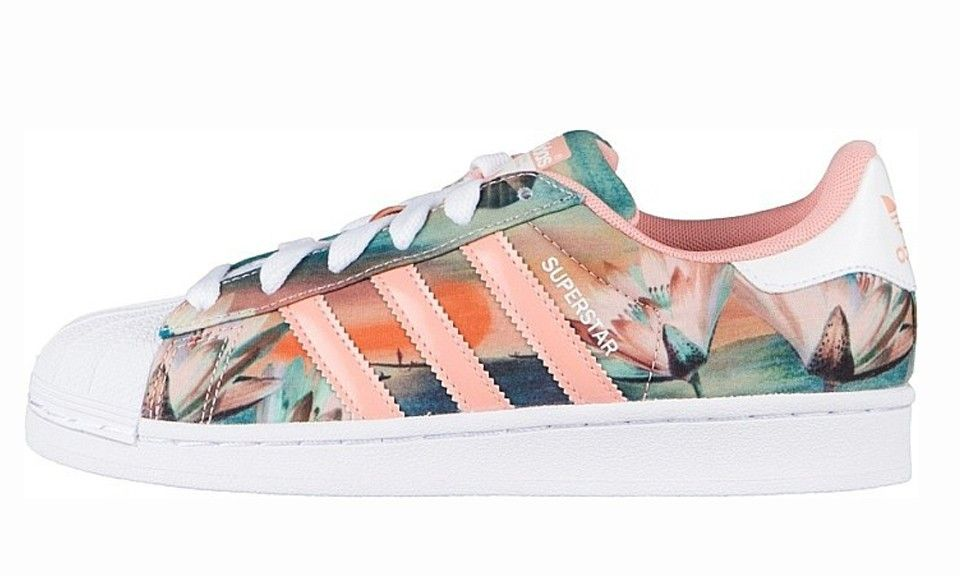 womens adidas white pink superstar farm print trainers warehouse