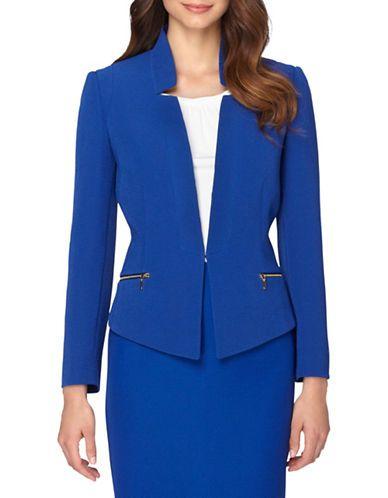 Tahari Arthur S Levine Starneck Open Jacket Women S Sapphire 4