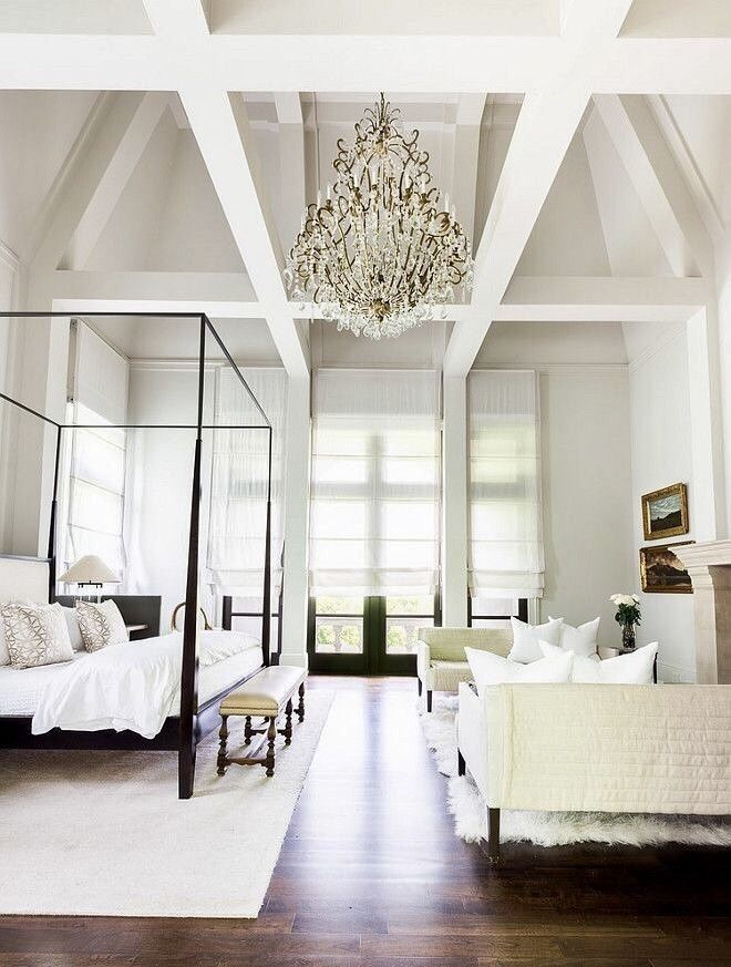 Stunning Master Bedroom With High Ceilings Chandelier And Seating