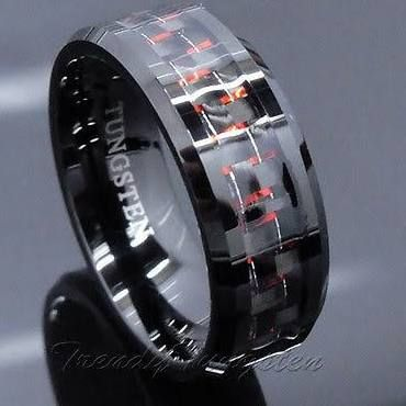 Mens Tungsten Ring With Carbon Fiber Black And Red Wedding Band Men Jewelry