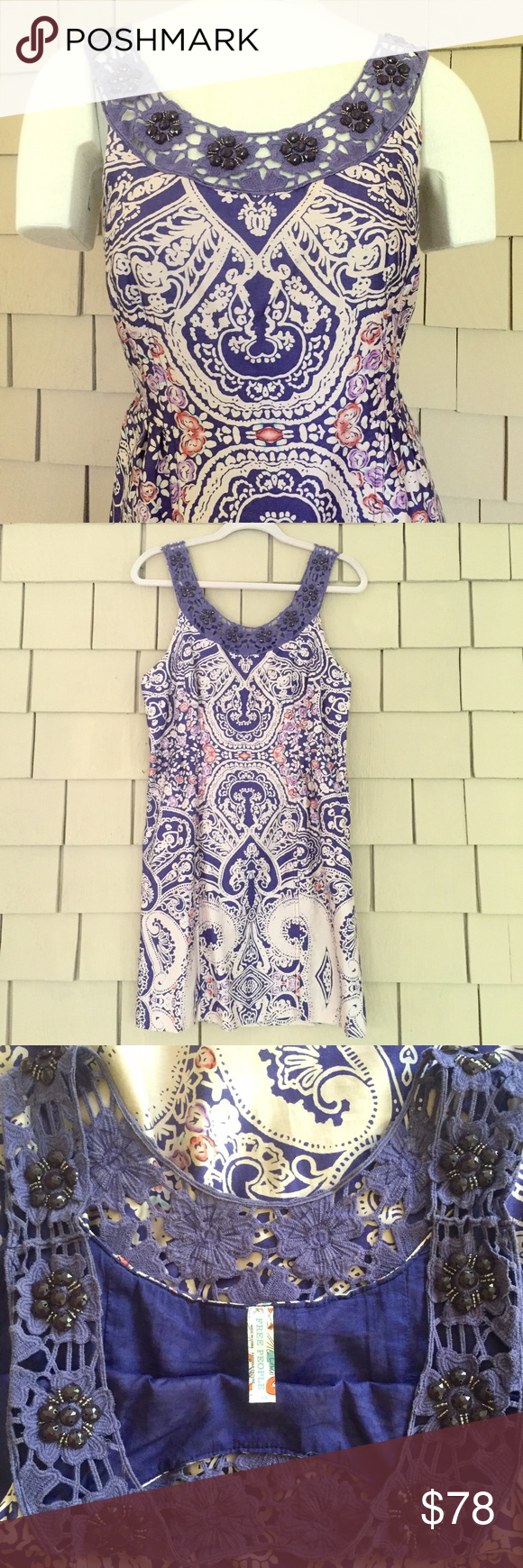 Free People Paisley Dress with Beaded Neckline Flowers of