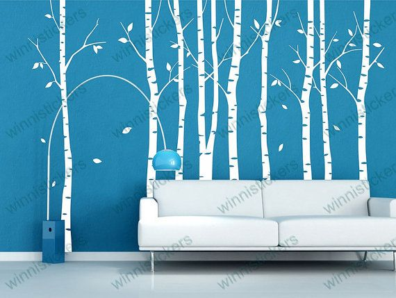 Vinyl waldecal nature design tree wall decals wall by for Beautiful birch tree wall mural