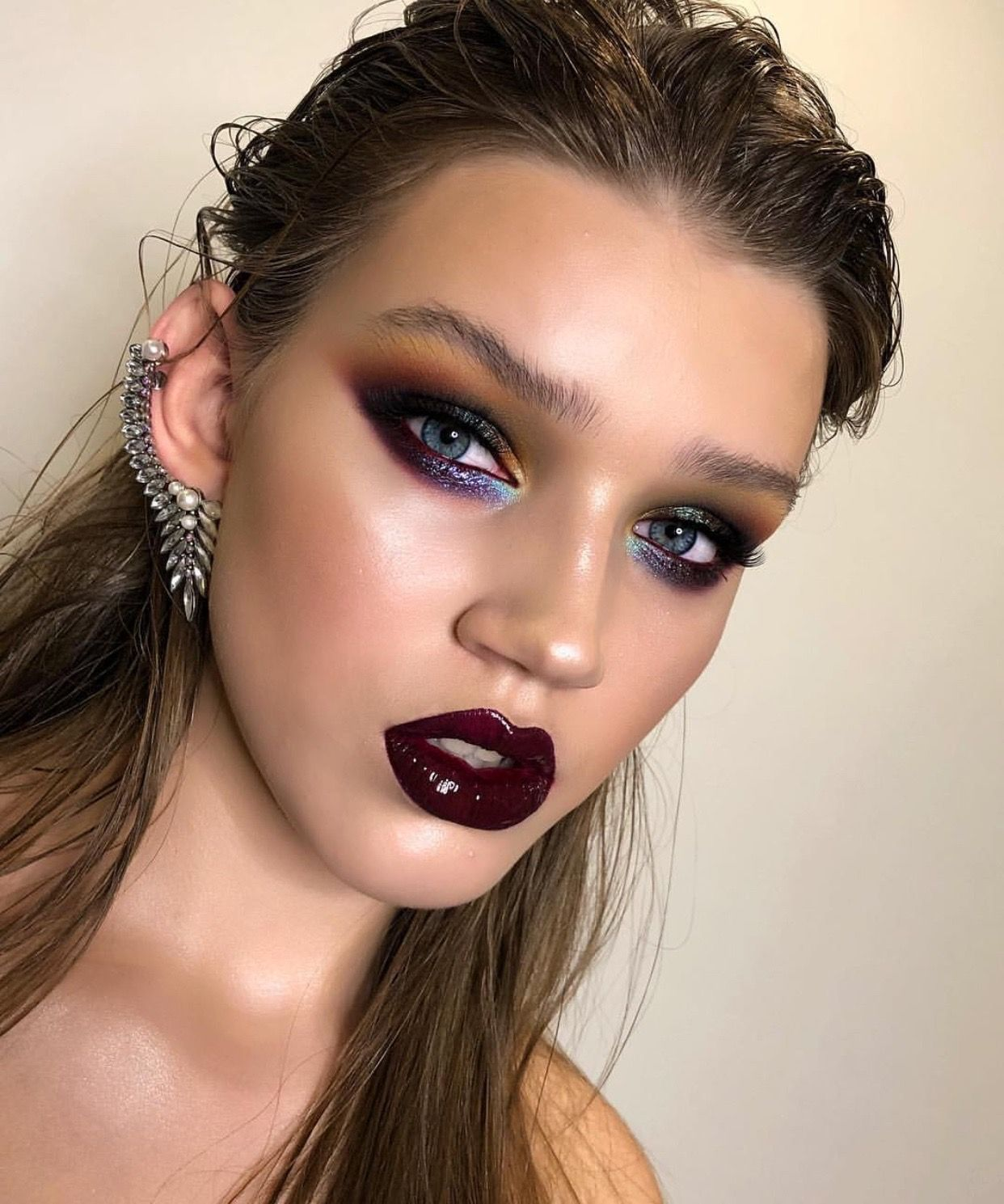 Bold Editorial Style Makeup Look Dark Black Purple Lipgloss And