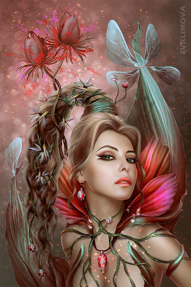 Картинки фэнтези девушки в цветке