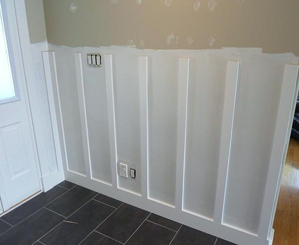 Wainscoting Home Depot Vertical Battens Installed In A Board And