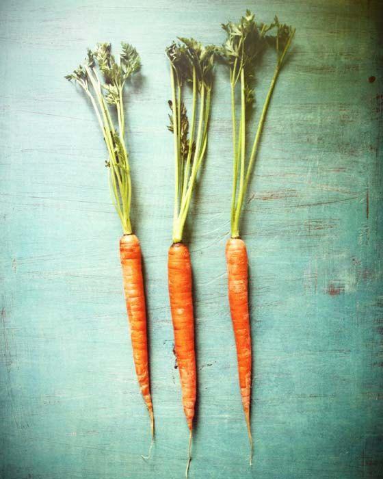 Orange vegetable garden print . aqua turquoise kitchen art . fresh . rustic summer home decor . modern food photography . Three Carrots. $28.00, via Etsy.