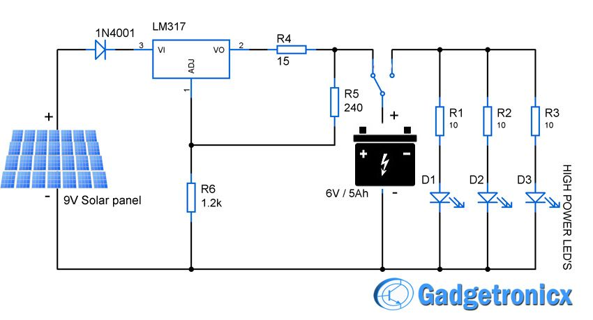 solar powered led light circuit diagram and schematic design  emergency  household lighting using power leds powered by the solar panel and lead  acid battery