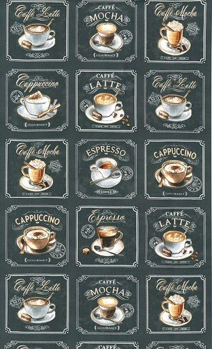 Contents 100 Cotton Width 44 Wide Repeat 24 Weight 4 3 Oz Per Square Yard Metro Cafe Robert Kaufman Coffee Shop Menu Coffee Art Coffee Menu Design