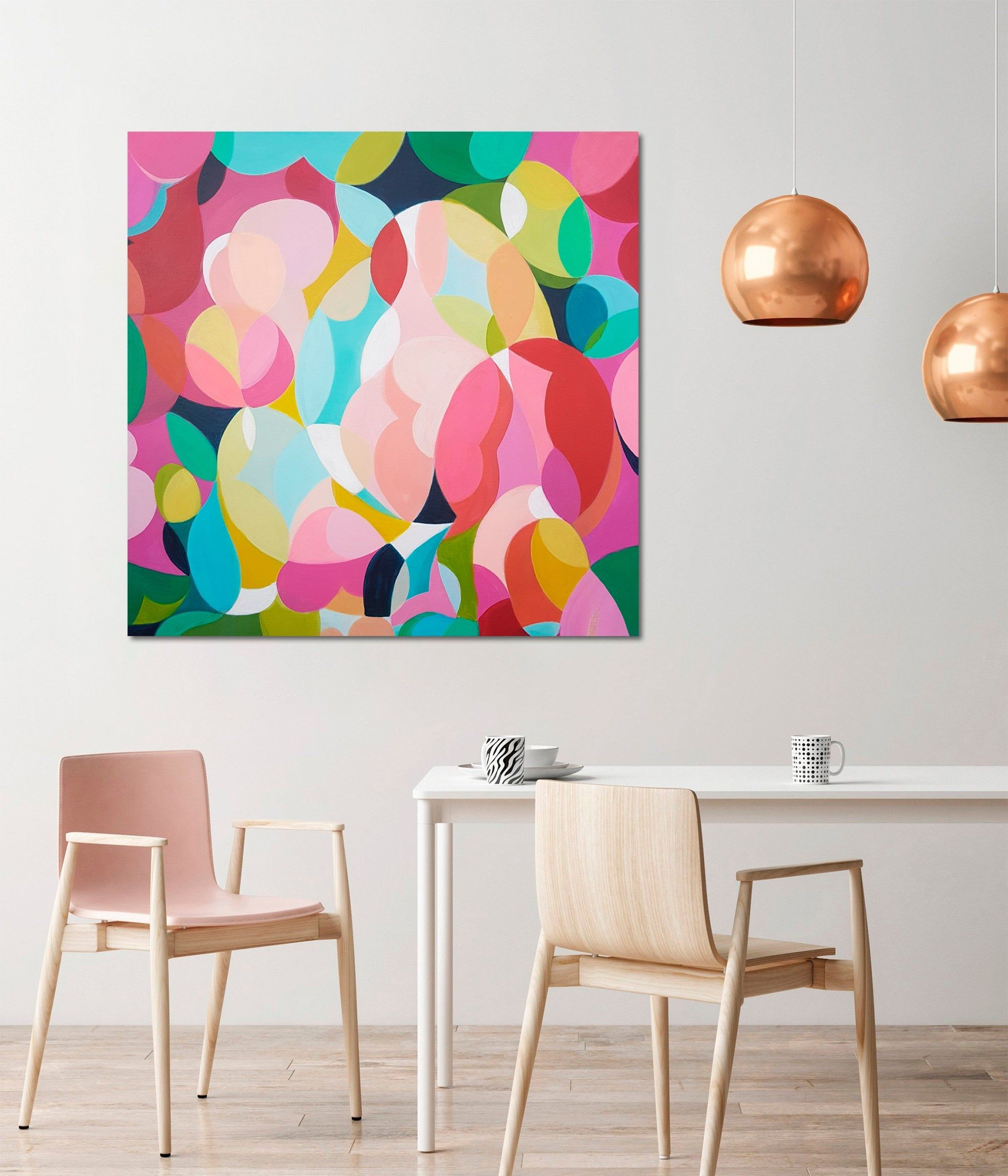 Original Colorful Pop Wall Art Geometric Painting With Hot Etsy Geometric Painting Abstract Canvas Art Acrylic Art Print