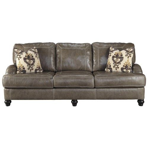 Benchcraft Kannerdy Leather Match Queen Sofa Sleeper with English