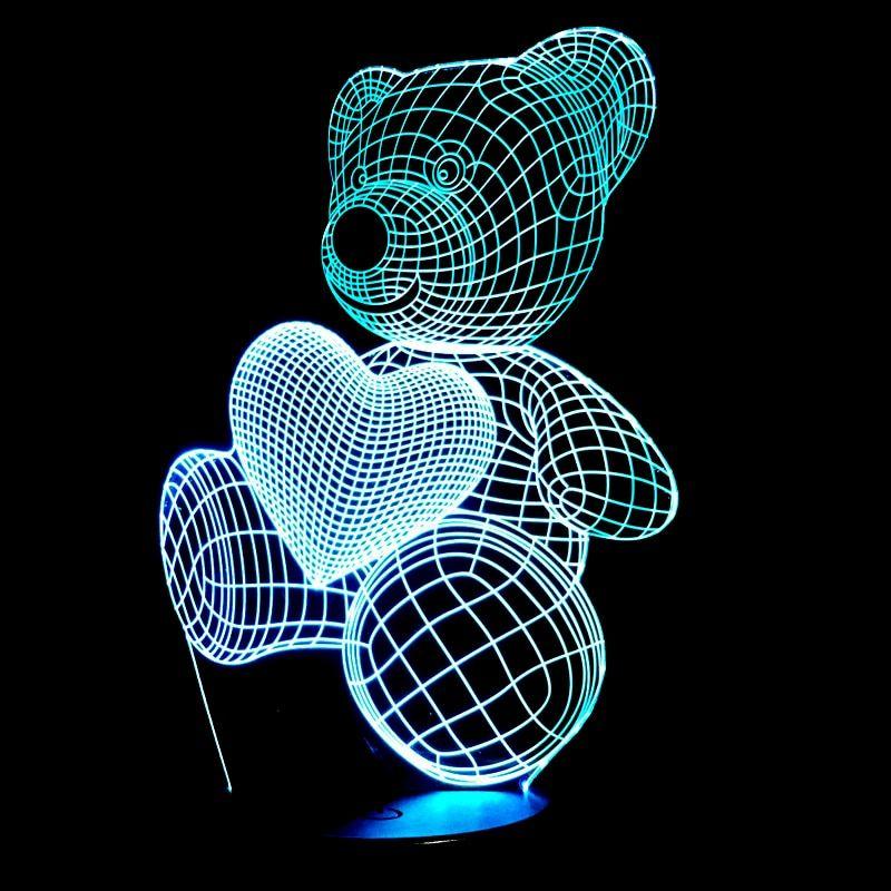 Cute Bear Hold Heart 3d Night Light 3d Night Light Baby Night Light Led Lamp