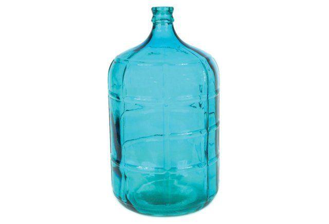 Large Glass Bottle, Blue