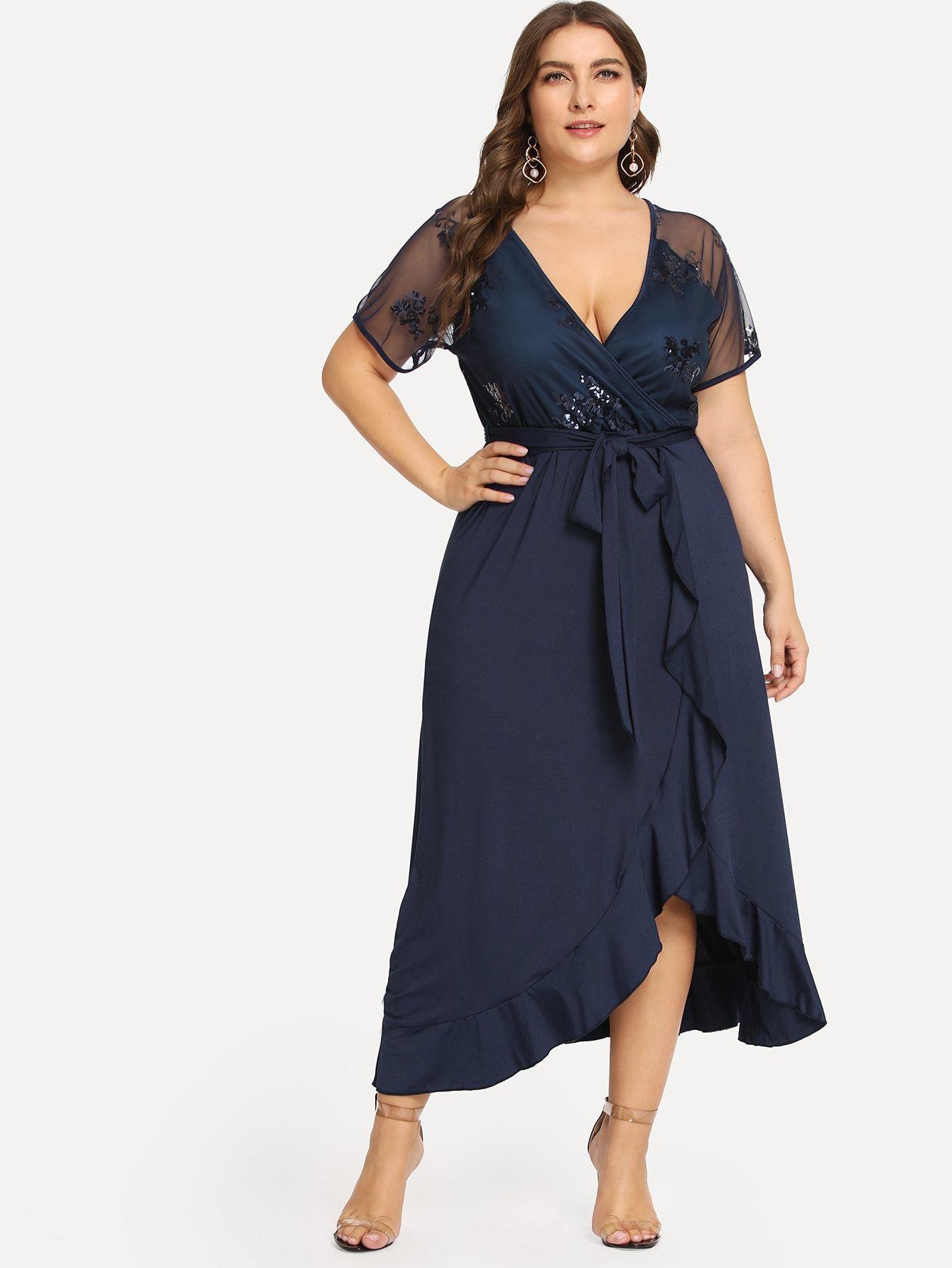Plus Sequin Mesh Bodice Ruffle Wrap Dress SheIn(Sheinside