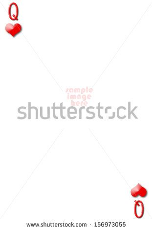 Queen Of Hearts Blank Gambling Card With Empty Space For Photo