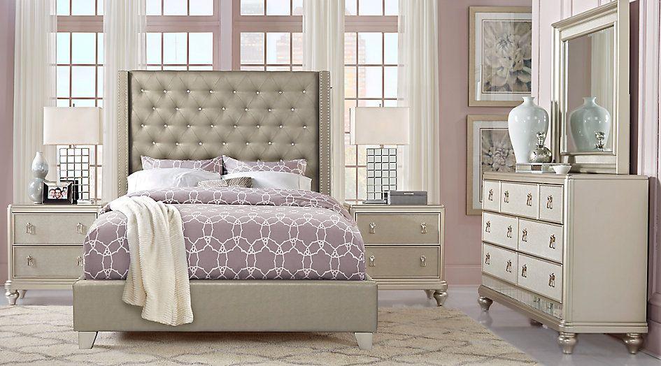 Sofia Vergara Paris Silver 5 Pc Queen Upholstered Bedroom Living Room Sets C Upholstered Bedroom Sofia Vergara Bedroom Furniture King Size Bedroom Furniture