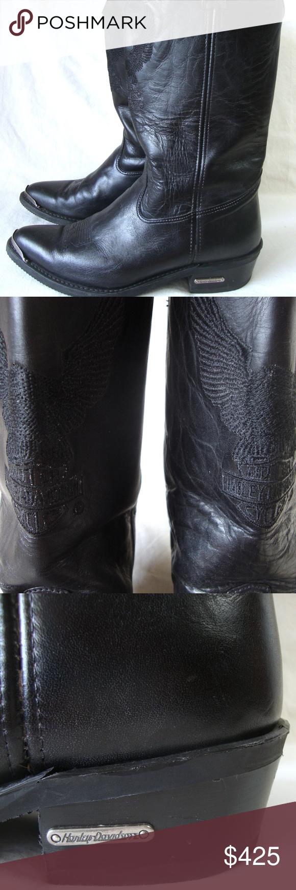 VTG Harley Davidson Leather Biker Cowboy Boots Vintage harley