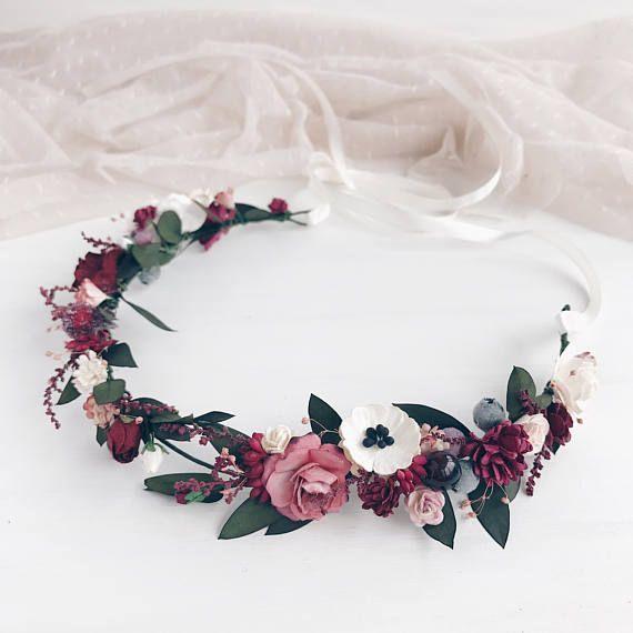 Blumenkrone, Burgund Blumenkrone, Herbst Hochzeit Blumenkrone, Braut Blumenkrone, Eukalyptus Kopfschmuck #fleursentissu