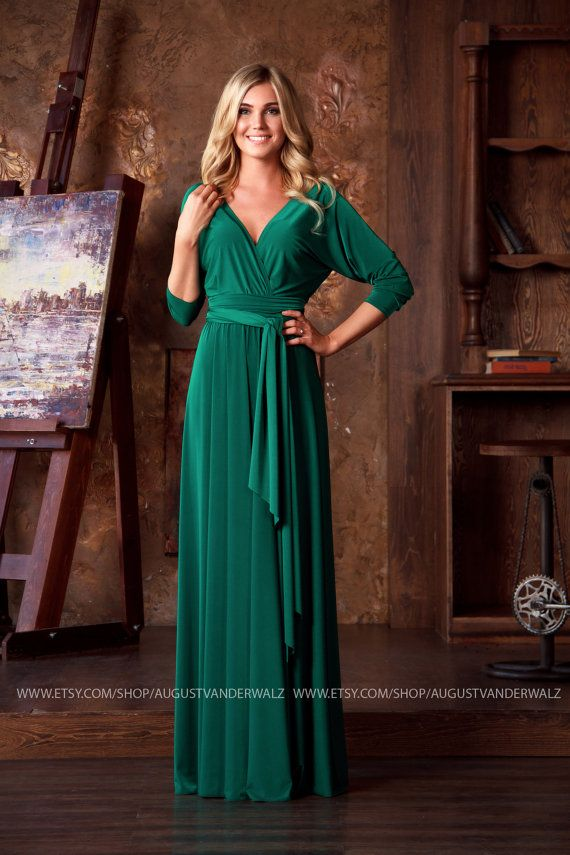 Formal Evening Dress Green Maxi Dress Long Evening Dress Plus Size