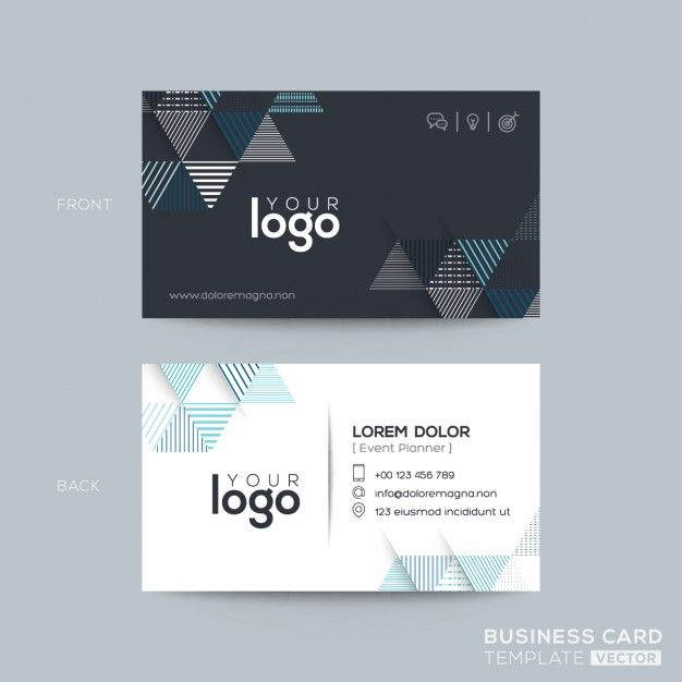 Download Modern Business Card With Blue And Black Triangles For