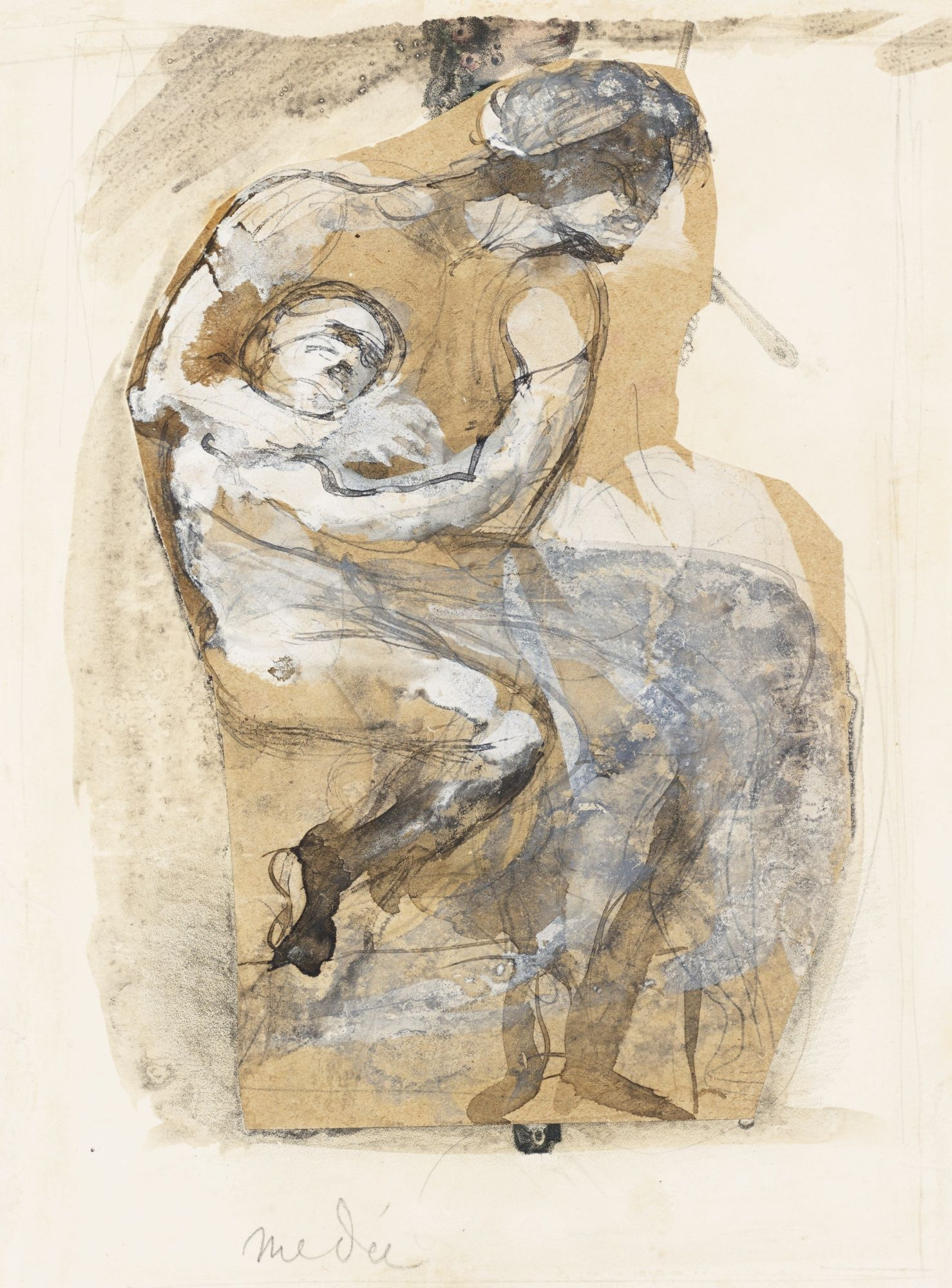 AUGUSTE RODIN 1840 - 1917 MÉDÉE titled (towards lower left) ink, gouache, sepia over lead pencil and collage on paper 21.5 by 16.4cm., 8 1/2 by 6 1/2 in.
