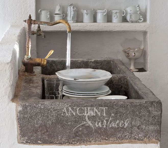 Antique Hand Carved Limestone And Marble Sinks By Ancient Surfaces.