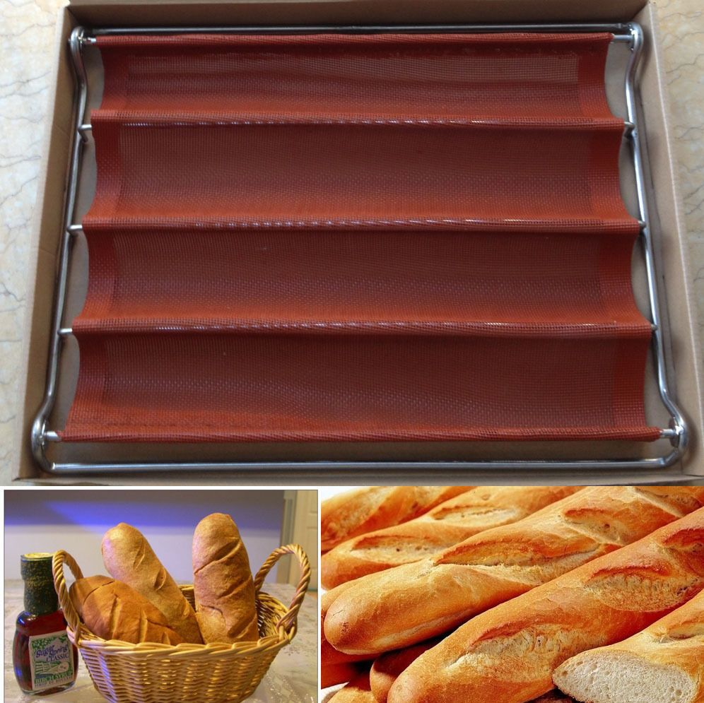 Nonstick Perforated Baguette French Bread Loaf Tray 4 Rolls Bread Baking Pan French Bread Loaf Bread Baking Loaf Bread