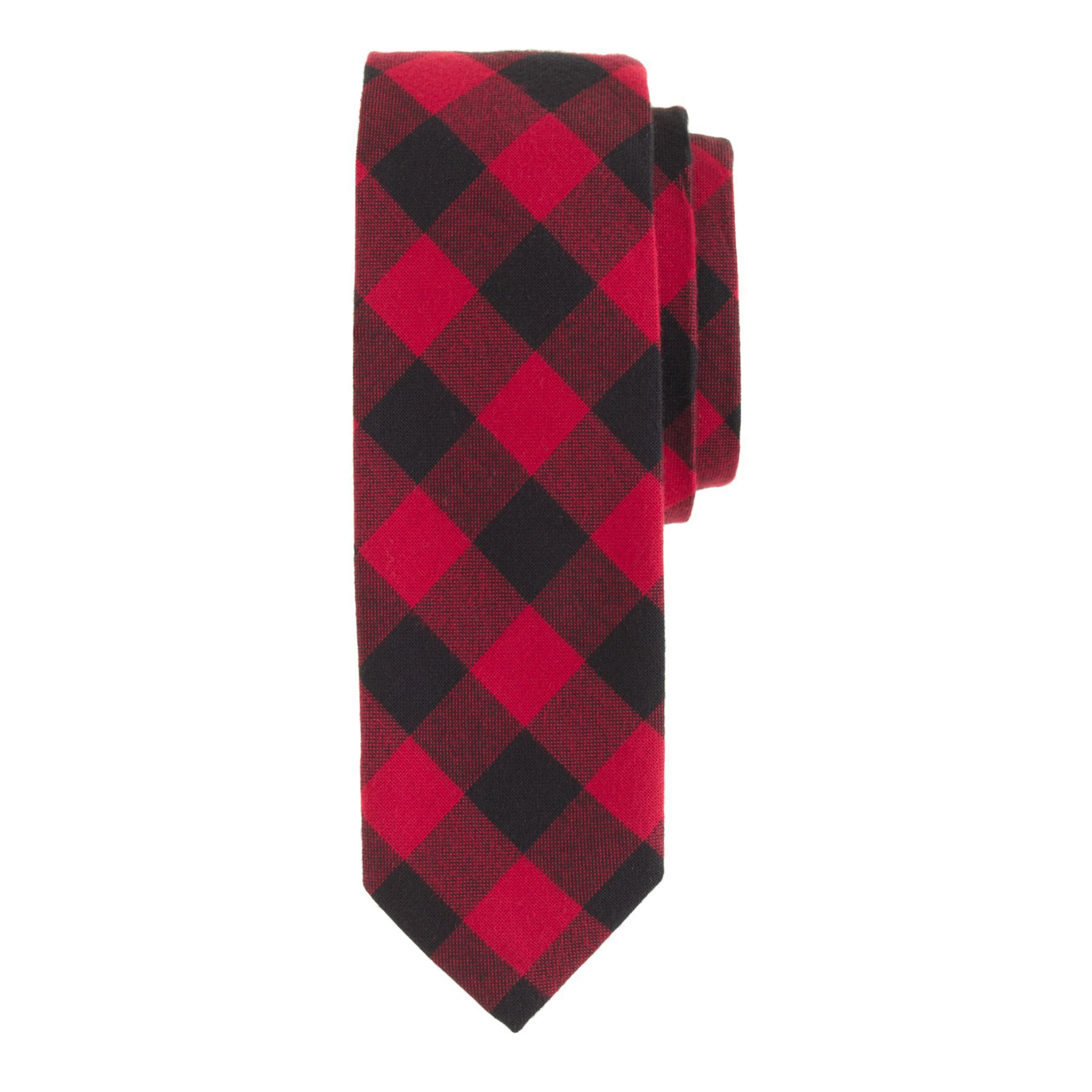 J.Crew men's cotton tie in holiday red buffalo check.