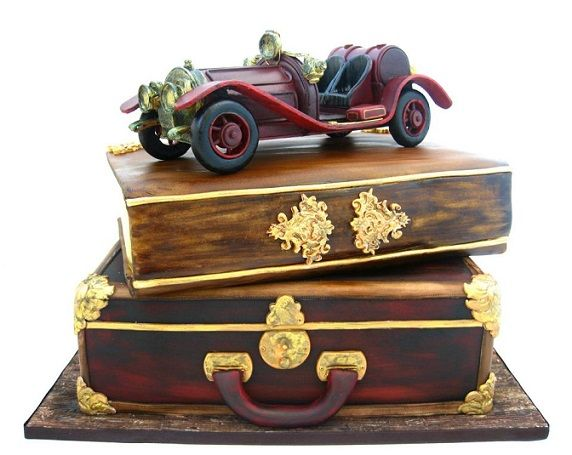 antique suitcase cakes by Cakes by Mina Bakalova Bulgaria grooms