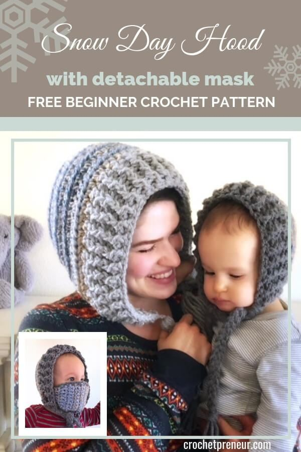 Mommy and Me Winter Hat Crochet Pattern 30 Days of Cozy  Crochetpreneur A perfect solution for frozen cheeks The Snow Day Hood winter hat with removable mask keeps your f...