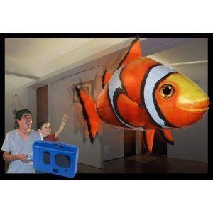 Remote Control Flying Fish - ClownFish *lowest price* by Syan. $16.99. Stays inflated for up to two weeks. Requires 4 AAA Batteries (one in the body, three in the controller). Requires helium (not included) to float - can be reinflated over and over. Air Swimmers swim through the air with incredibly smooth and life-like swimming motion. These amazing fish provide hours of remote control indoor fun in even the smallest of rooms (not for outdoor use). They require only four AA...