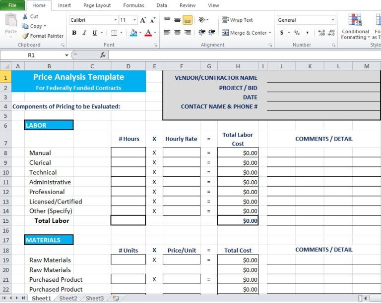 price analysis spreadsheel excel template free download