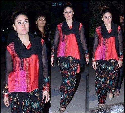 Kareena Kapoor Wear Beautiful Patiala Salwar Kameez New Fashion Suits  by Bollywood Designers-3