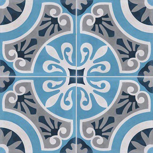 Carreau De Ciment Bleu Cercle L 20 X L 20 Cm Carreaux Ciment