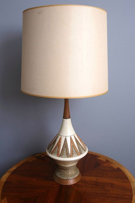 1950s mid century modern ceramic lamp atomic orange brown 65 00 via etsy