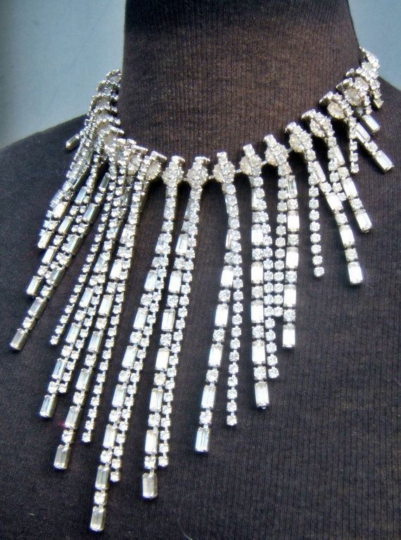 d1d2c1231 Art Deco Vintage Hattie Carnegie Rhinestone Crystal Bib Necklace Rare  Designer Signed Couture Bridal Runway Jewelry