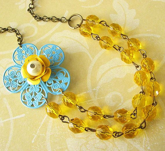 Flower Necklace Yellow Jewelry Bridesmaid Necklace by zafirenia, $36.00