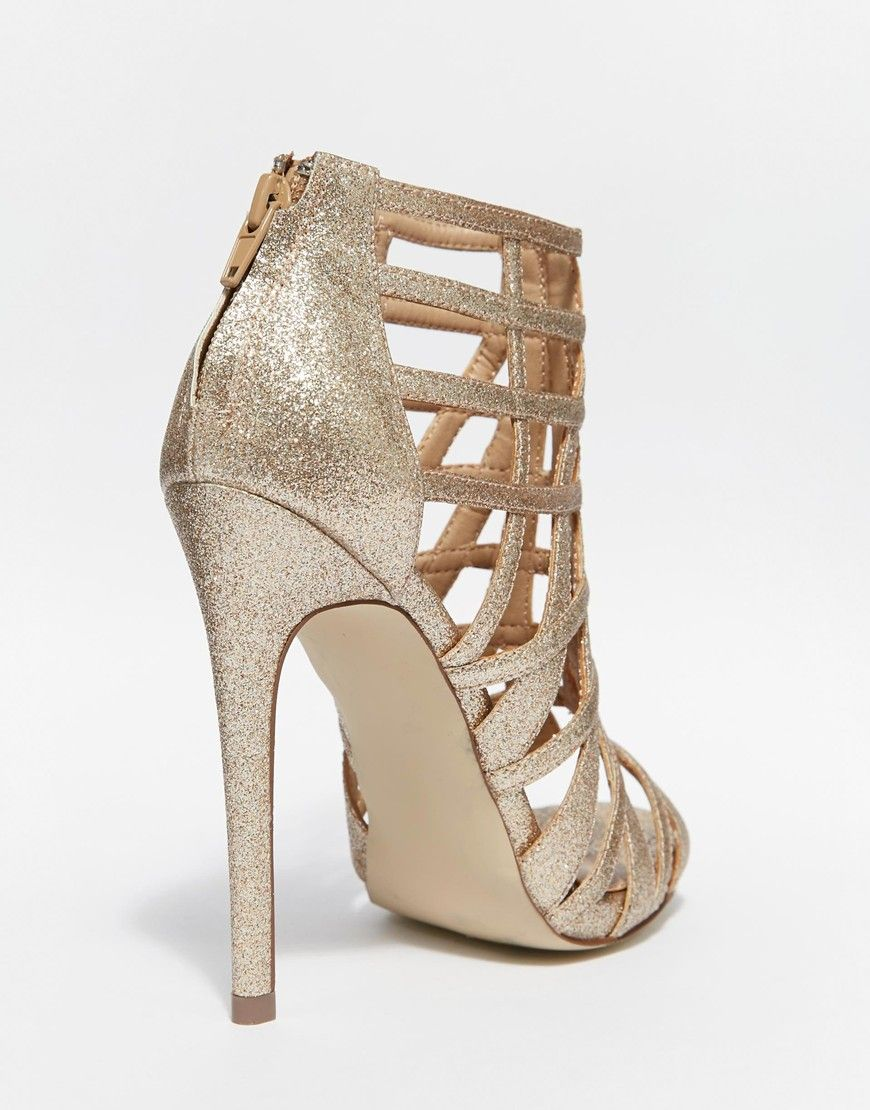 Image 2 of Steve Madden Marquee Gold Embellished Heeled Sandals