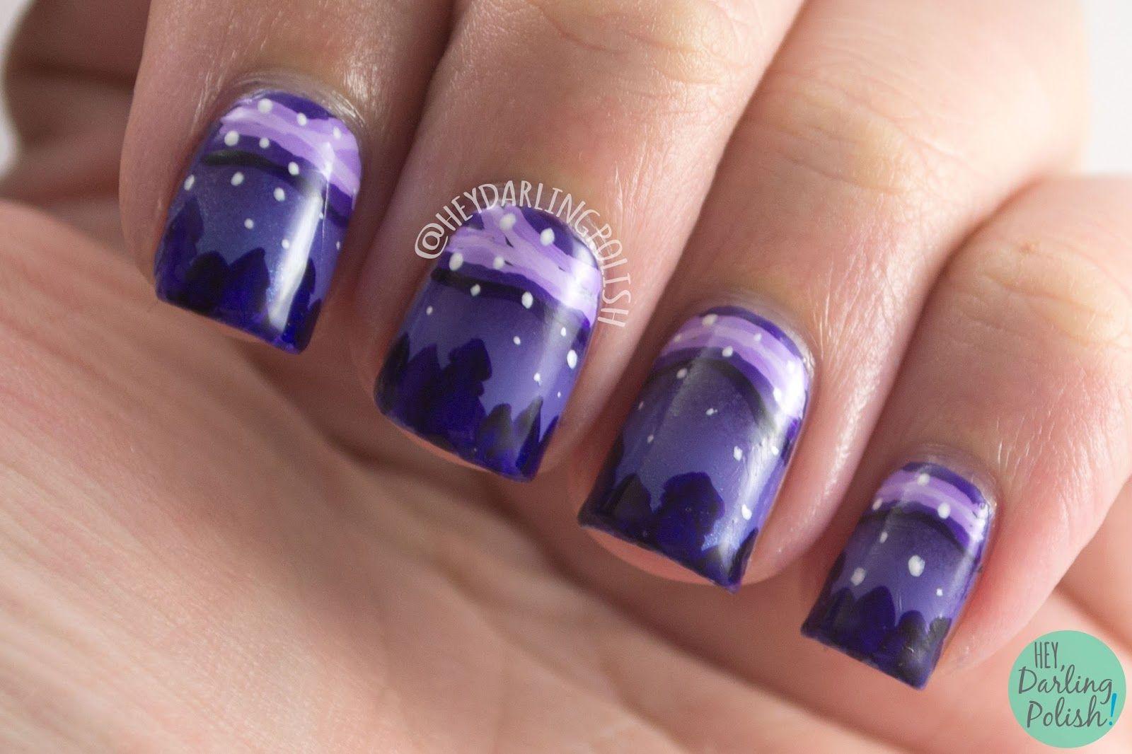 nails, nail art, nail polish, purple, outdoors, trees, night sky ...